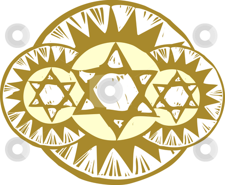 Three Stars of David stock vector clipart, Three Star of David in a a styled array. by Jeffrey Thompson