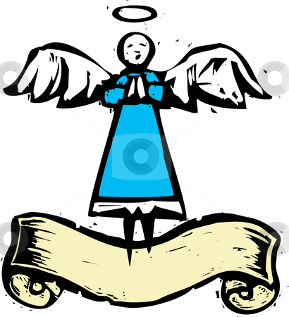 Tall Angel with Banner stock vector clipart, Tall angel dress in blue with scroll banner. by Jeffrey Thompson