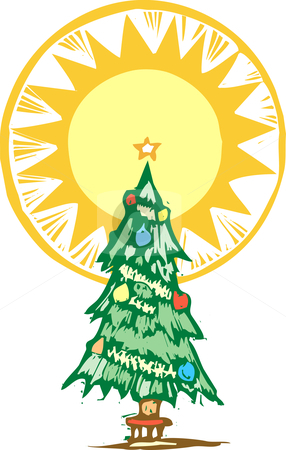 Christmas Tree and Light stock vector clipart, Christmas tree with stylized halo about the top. by Jeffrey Thompson