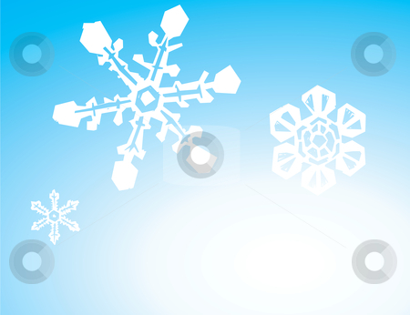 Three Snowflake Background stock vector clipart, Background image of three snowflakes on a gradient. by Jeffrey Thompson