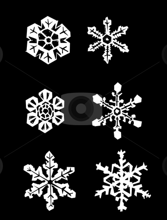 Snowflakes stock vector clipart, Snowflakes placed on a solid black background. by Jeffrey Thompson
