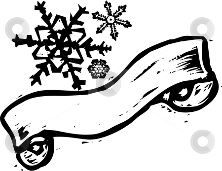Snowflake Banner #2   stock vector clipart, Three woodcut style snowflakes with a scroll banner. by Jeffrey Thompson