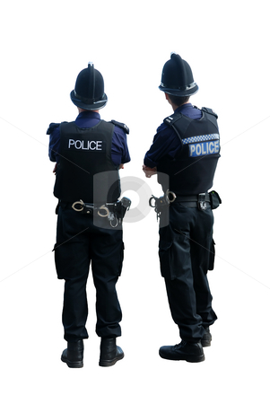 Two British policemen stock photo, Two British policemen in uniform, with their backs to the camera, isolated on a pure white background. by Rebecca Campbell