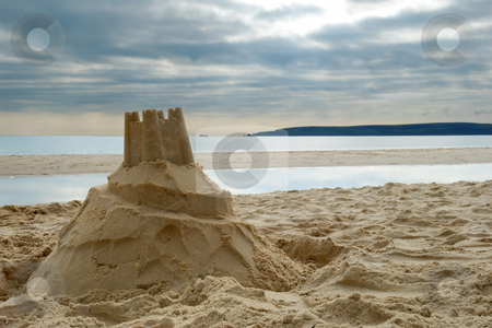 Sandcastle stock photo, Close-up of sandcastle on Bournemouth beach, Dorset (UK) by Rebecca Campbell