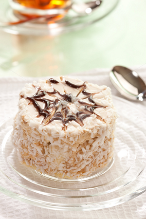 Cake stock photo, Food series: tasty cake with cream and chocolate by Gennady Kravetsky