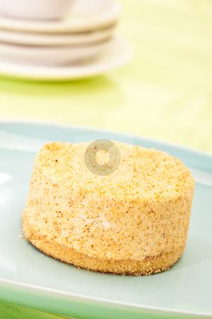 Cake stock photo, Food serie: sweet fancy cake on blue plate by Gennady Kravetsky