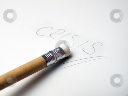 Crisis eraser stock photo, Metaphor about solution for crisis or recession. by Sinisa Botas