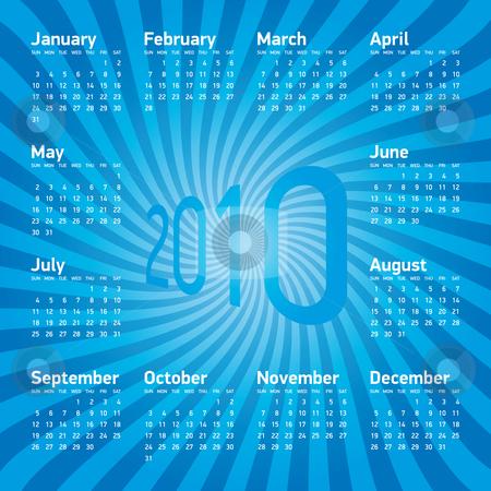 Blue Calendar 2010 stock vector clipart, Blue Calendar for Year 2010, in vector format by Germán Ariel Berra