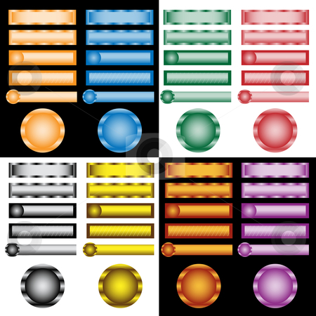 Web buttons set in assorted colors and designs  stock vector clipart, Web buttons collection in assorted colors, shapes and designs. Isolated on white and black background by toots77