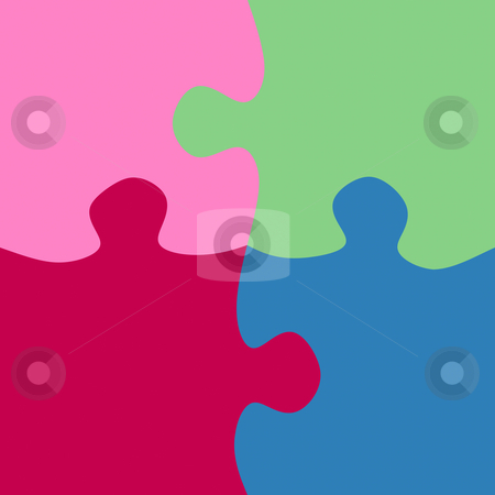 Square jigsaw pieces stock photo, Texture of our large puzzle parts in pink, green, red and blue by Wino Evertz