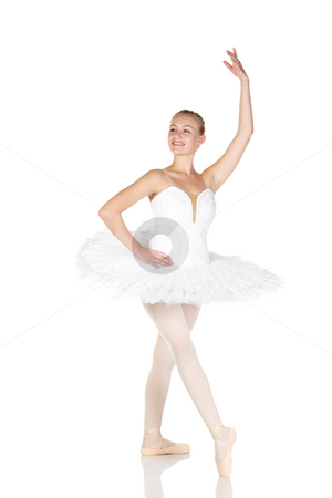 Young caucasian ballerina stock photo, Young caucasian ballerina girl wearing a tutu on white background and reflective white floor showing various ballet steps and positions. Not Isolated by Sean Nel