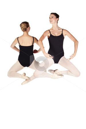 Young caucasian ballerinas stock photo, Young caucasian ballerinas on white background and reflective white floor showing various ballet steps and positions. Not Isolated by Sean Nel