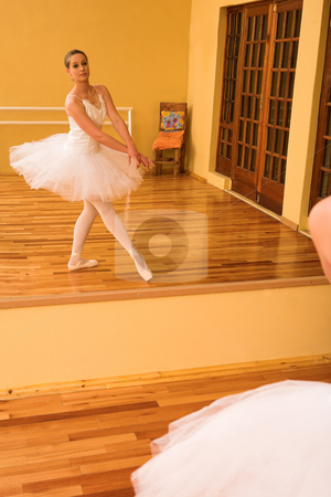 Ballerina #27 stock photo, Ballerina dancing in front of a mirror by Sean Nel