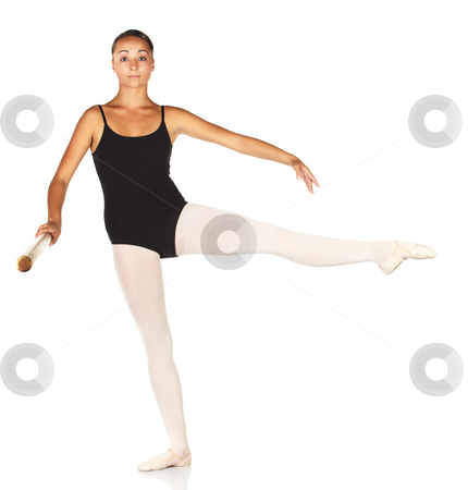 Ballet Steps stock photo, Young caucasian ballerina girl on white background and reflective white floor showing various ballet steps and positions. Develope a la seconde. Not Isolated. by Sean Nel