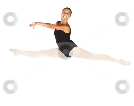 Young Ballet Dancer stock photo, Young female ballet dancer showing various classic positions on a white background - Grand Jet?  with Arms  positioned for 2nd Arabesque. NOT ISOLATED by Sean Nel