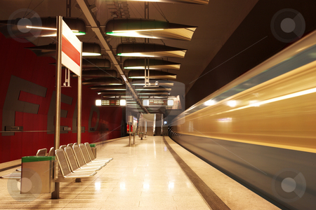 Munich #35 stock photo, Moving train in a underground train station by Sean Nel