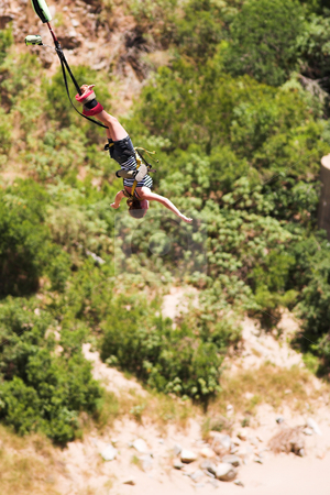 Bungee jumper #7 stock photo, Bungee Jumper at Gouritz River Bridge, South Africa - Movement on Jumper by Sean Nel