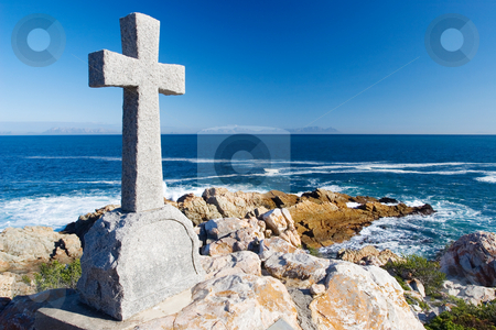 Graves #14 stock photo, Old stone Grave in the shape of a cross at Gordons Bay,  South Africa by Sean Nel