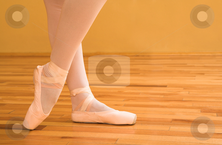 Ballerina #02 stock photo, Woman pointing with ballet shoes. by Sean Nel