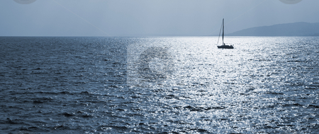 StRaphael #11 stock photo, Single sailboat on the Mediterranean Sea  by Sean Nel