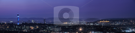 Panorama of Pretoria stock photo, Panoramic view of Pretoria in South Africa. HDR type image of city skyline right after sunset. by Sean Nel