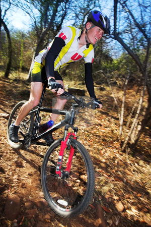 Mountainbiking #5 stock photo, Panning shot of a mountain biker, racing in a forest.  Movement on background and some of the bike.  Face of biker in focus. by Sean Nel