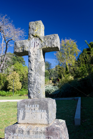 Graves #5 stock photo, Old stone Grave in the shape of a cross at the Belvedere Church, Knysna, South Africa by Sean Nel