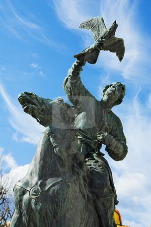 Menton #18 stock photo, Statues of the falconers in the public square at menton by Sean Nel