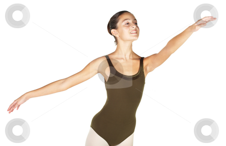 Young Ballet Dancer stock photo, Young female ballet dancer showing various classic hand and arm positions on a white background - First Arabesque arm position. NOT ISOLATED by Sean Nel