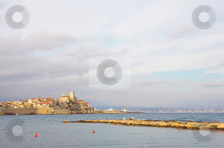 Antibes #87 stock photo, A town overlooking the sea in Antibes, France.  Copy space. by Sean Nel