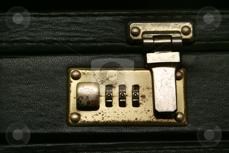 Locked stock photo, Old combination lock suitcase by Sean Nel