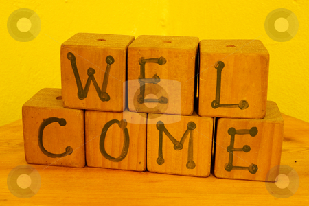 Cape Signs #2 stock photo, Welcome sign in playblocks by Sean Nel