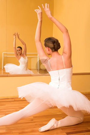 Ballerina #29 stock photo, Ballerina dancing in front of a mirror by Sean Nel