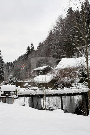Snow Landscape #13 stock photo, Small Snowcovered Town in the German Alps by Sean Nel