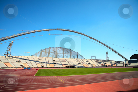 Khalifa sport stadium stock photo, Inside Khalifa sports stadium in Doha, Qatar where the 2006 Asian games were hosted and location for the proposed 2016 Olympic Games (wide angle lens distortion on edges) by Sean Nel