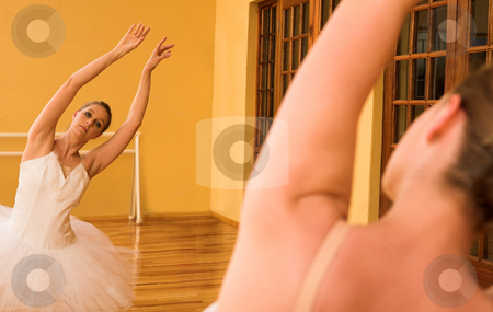 Ballerina #28 stock photo, Ballerina dancing in front of mirror by Sean Nel