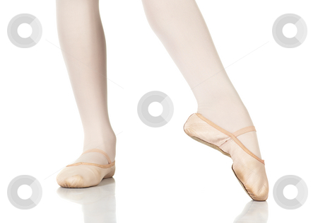 Ballet Feet Positions stock photo, Young female ballet dancer showing various classic ballet feet positions on a white background - Point lift, point close. NOT ISOLATED by Sean Nel