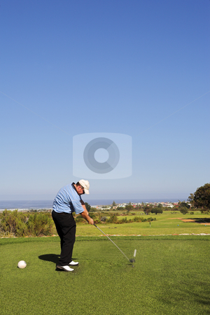 Golf 02 stock photo, Man playing golf. by Sean Nel