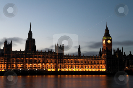 Big Ben #8 stock photo, Big Ben and the house of parliament just after sunset on the river Thames by Sean Nel