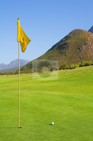 Golfer #45 stock photo, A flag and ball on a golf course by Sean Nel