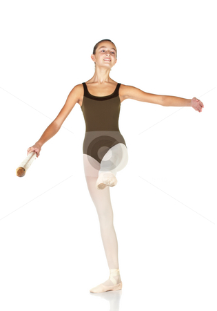 Young Ballet Dancer stock photo, Young female ballet dancer showing various classic positions on a white background, at barre - develope. NOT ISOLATED by Sean Nel