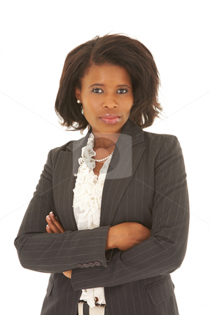 Sexy african businesswoman stock photo, Sexy young adult african businesswoman in a business suit on a white background. NOT ISOLATED by Sean Nel