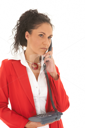 Beautiful Caucasian businesswoman stock photo, Portrait of a beautiful young Caucasian businesswoman with curly hair in an updo style talking on the phone on white background. NOT ISOLATED by Sean Nel