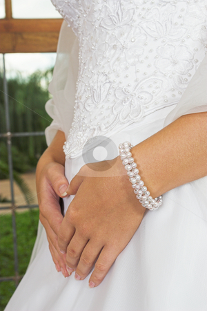 Embroidered bodice stock photo, Brides hands on wedding dress by Sean Nel