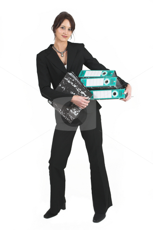 Business Lady #83 stock photo, Business woman with black file by Sean Nel