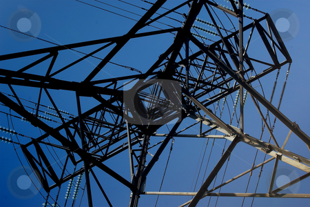 Power Cables #6 stock photo, Power Cable Tower from the bottom by Sean Nel