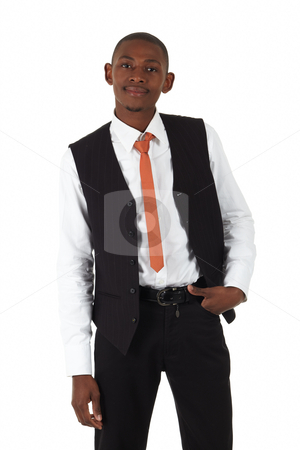 Black African Businessman stock photo, Young black african businessman in a formal suite and on a white background - NOT ISOLATED by Sean Nel