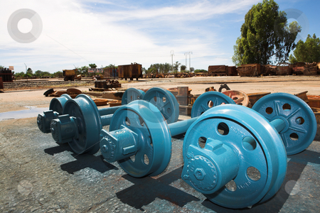 Industrial #1 stock photo, Brand new Train wheels, newly painted blue by Sean Nel
