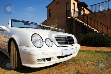 Wedding Car stock photo, White convertible wedding car with ribbon  by Sean Nel