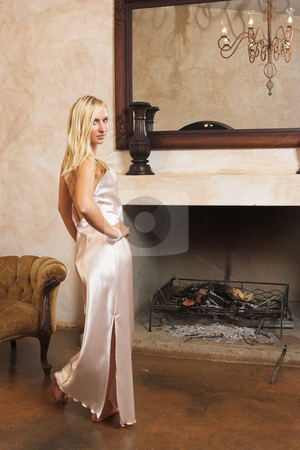 Lingerie #24 stock photo, Blonde woman with bare feet in silk lingerie by Sean Nel